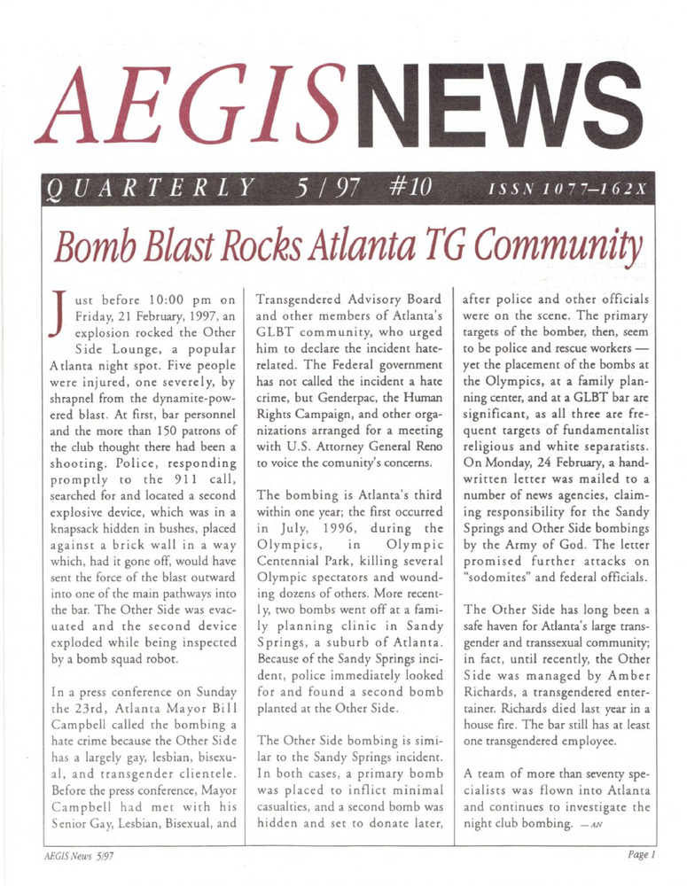 Download the full-sized PDF of AEGIS News, No. 10 (May, 1997)