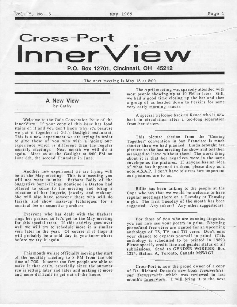 Cross Port Innerview Vol 5 No 5 May 1989 Digital Transgender