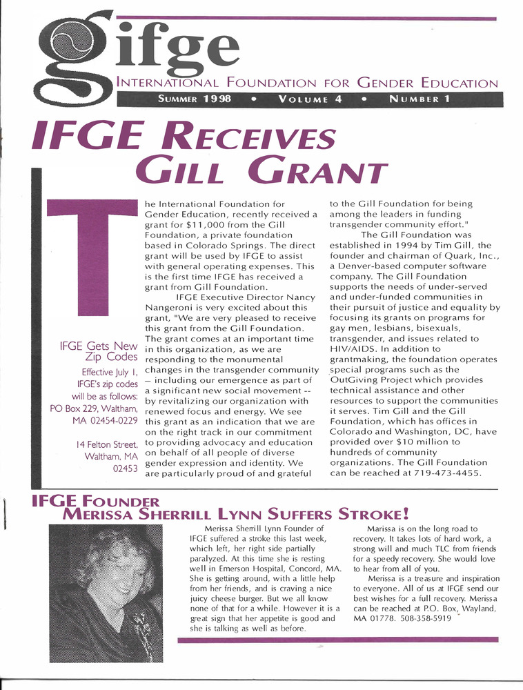 Download the full-sized PDF of IFGE Newsletter Vol. 4 No. 1 (Summer, 1998)