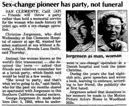 Download the full-sized image of Sex-Change Pioneer Has Party, Not Funeral