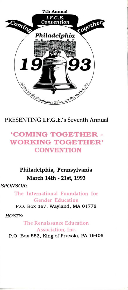 "Download the full-sized PDF of Brochure for IFGE's 7th Annual ""Coming Together - Working Together"" Convention (March 14-21, 1993)"