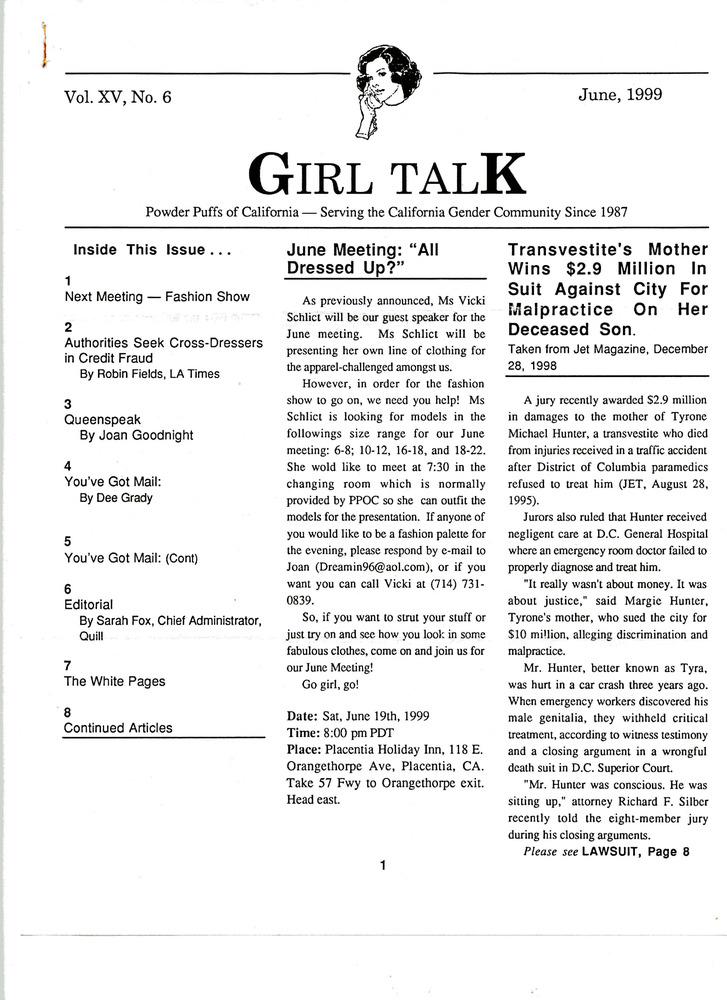 Download the full-sized PDF of Girl Talk, Vol. 15 No. 6 (June, 1999)