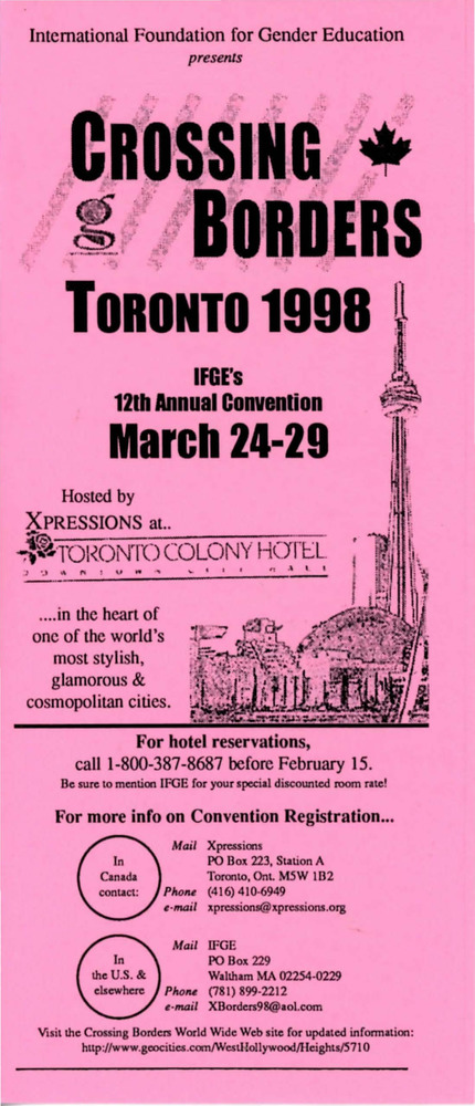 Download the full-sized PDF of Brochure for Crossing Borders Toronto 1998 (March 24-29)