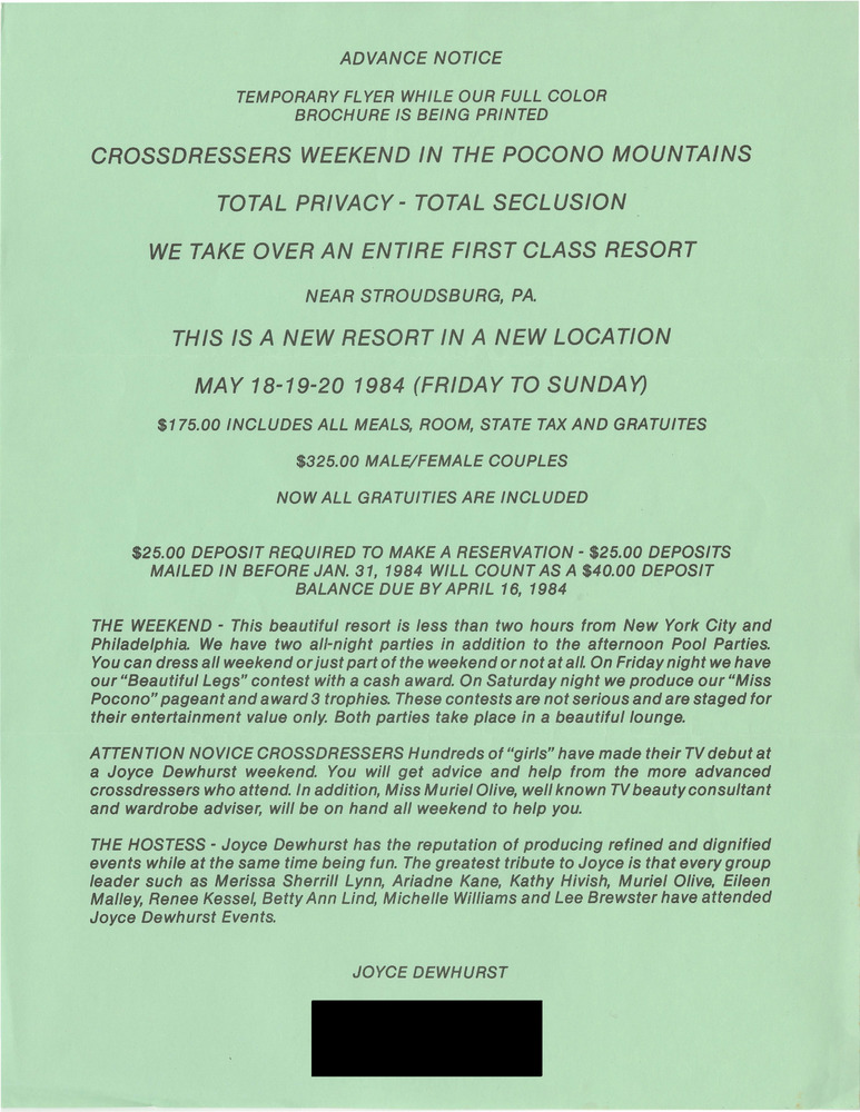 Download the full-sized PDF of Crossdressers Weekend in Pocono Mountains