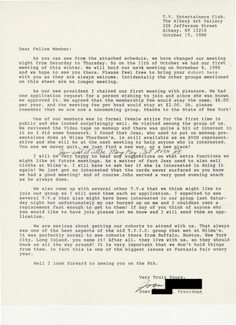 Download the full-sized PDF of Letter from Joan Edwards, T.V. Entertainers Club President