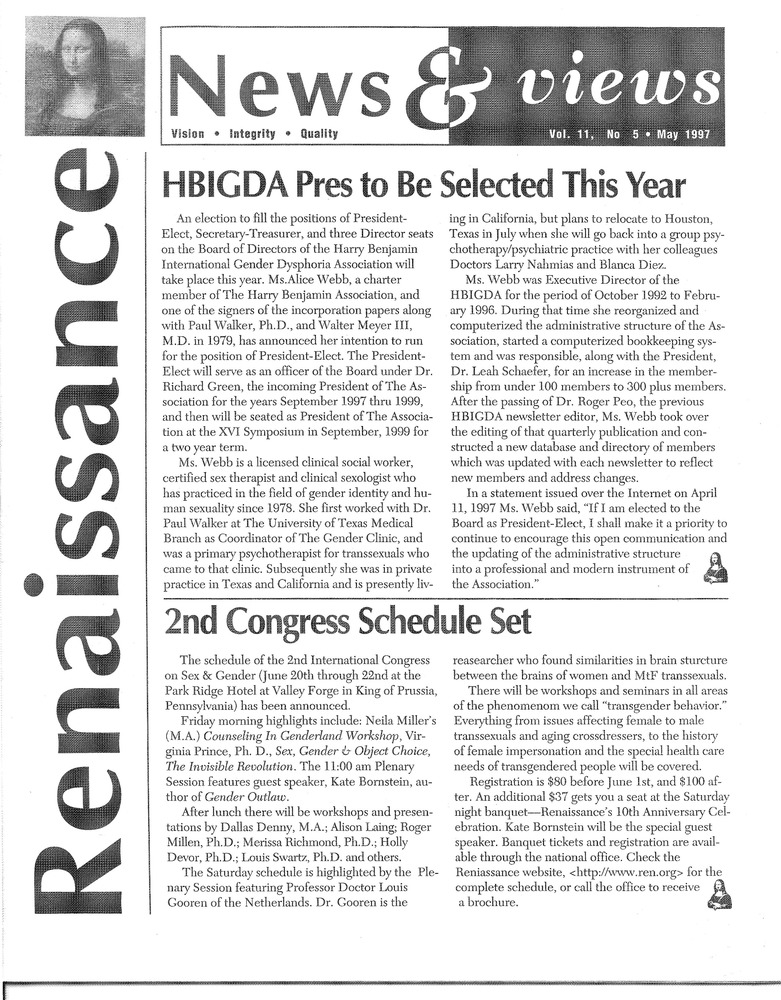 Download the full-sized PDF of Renaissance News & Views Vol. 11, No. 5 (May, 1997)