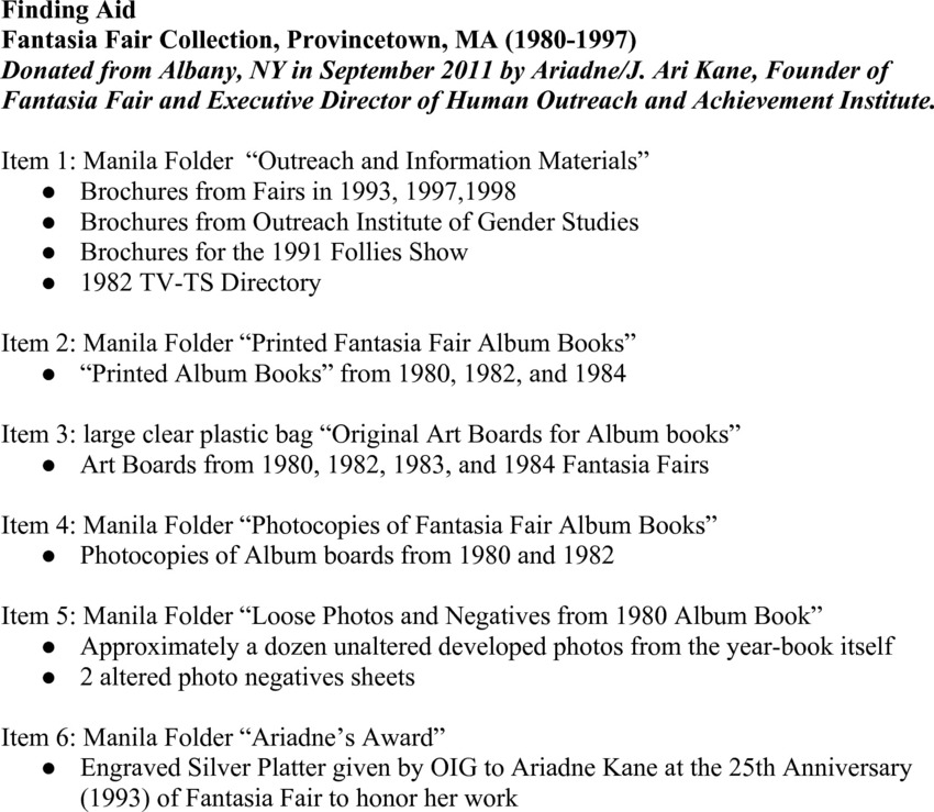 Download the full-sized PDF of Fantasia Fair Collection, Provincetown, MA (1980-1997)