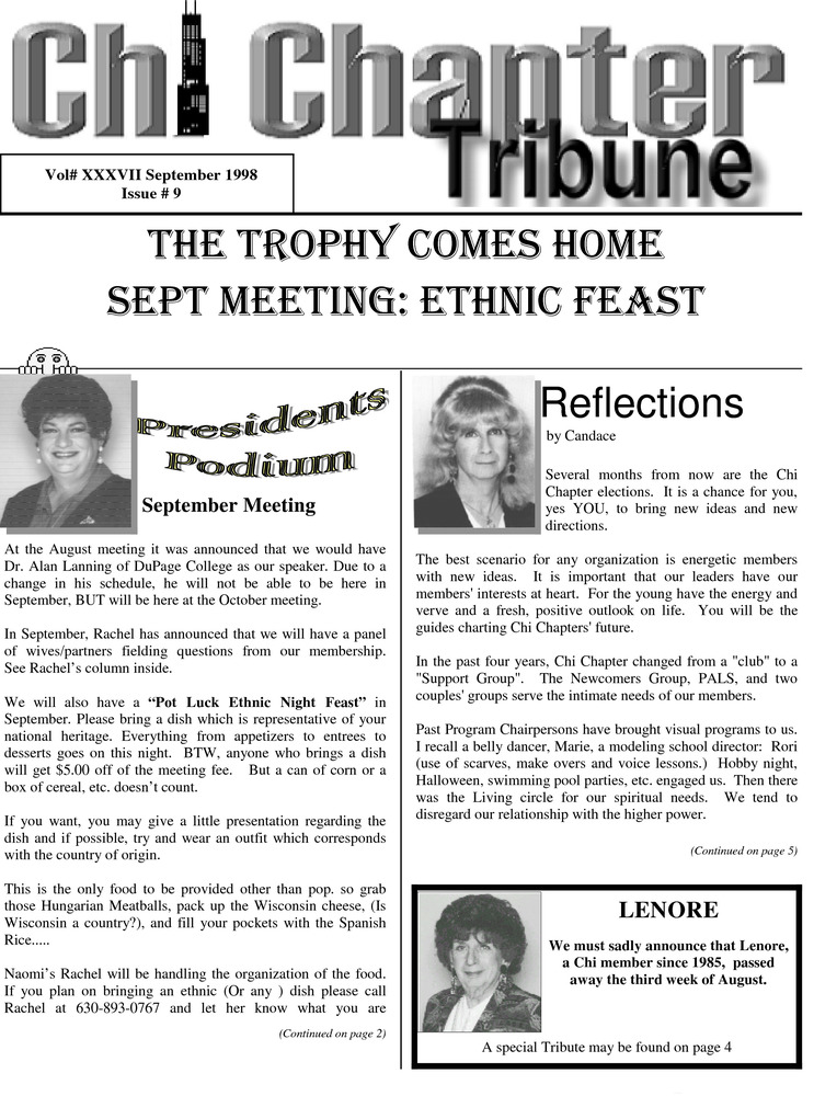 Download the full-sized PDF of Chi Chapter Tribune Vol. 37 Iss. 09 (September, 1998)