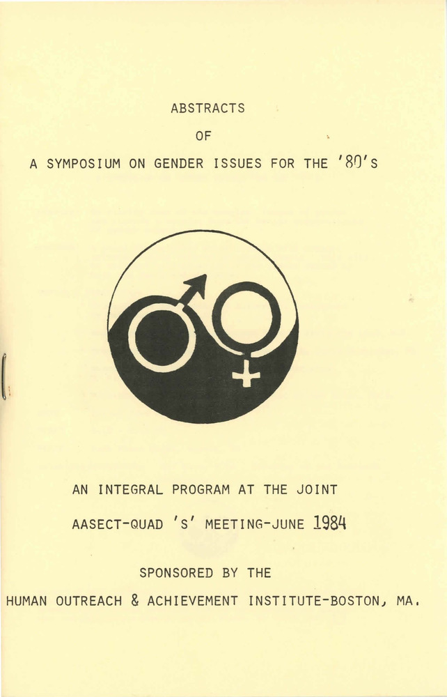 Download the full-sized PDF of Abstracts of a Symposium on Gender Issues for the '80's (Jun. 1984)