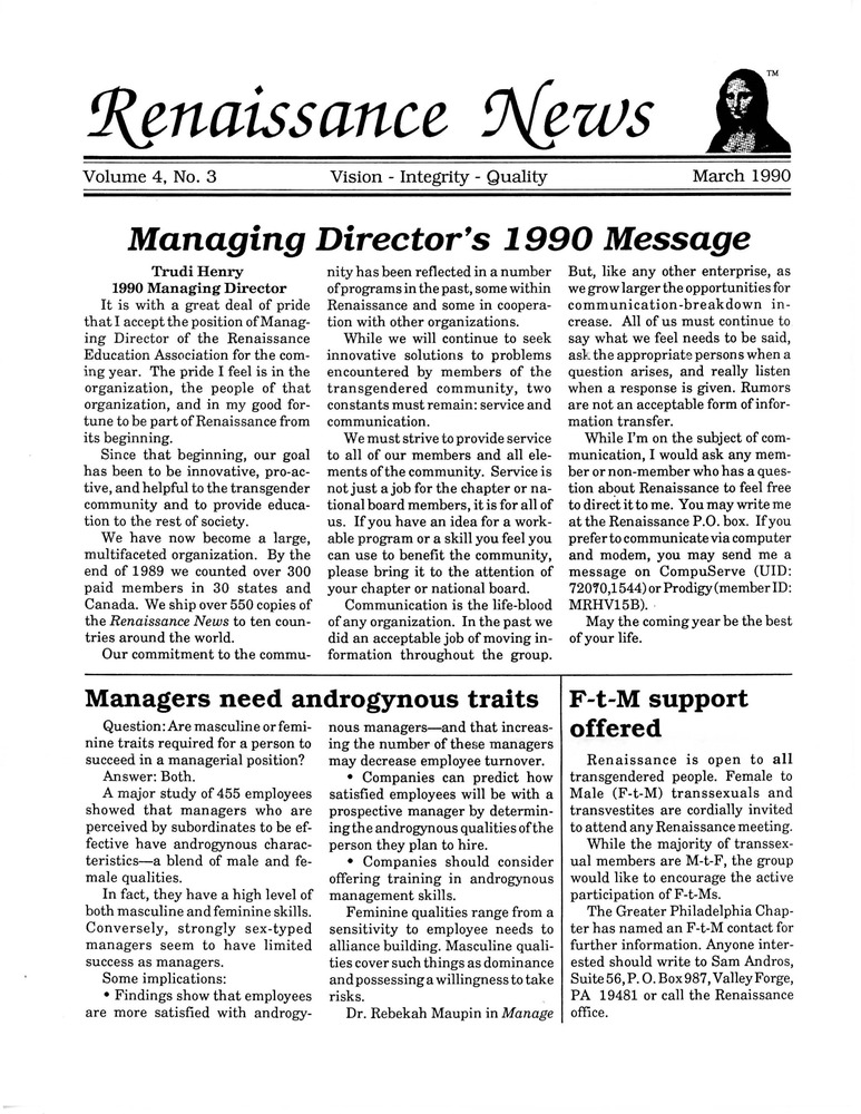 Download the full-sized PDF of Renaissance News, Vol. 4 No. 3 (March 1990)