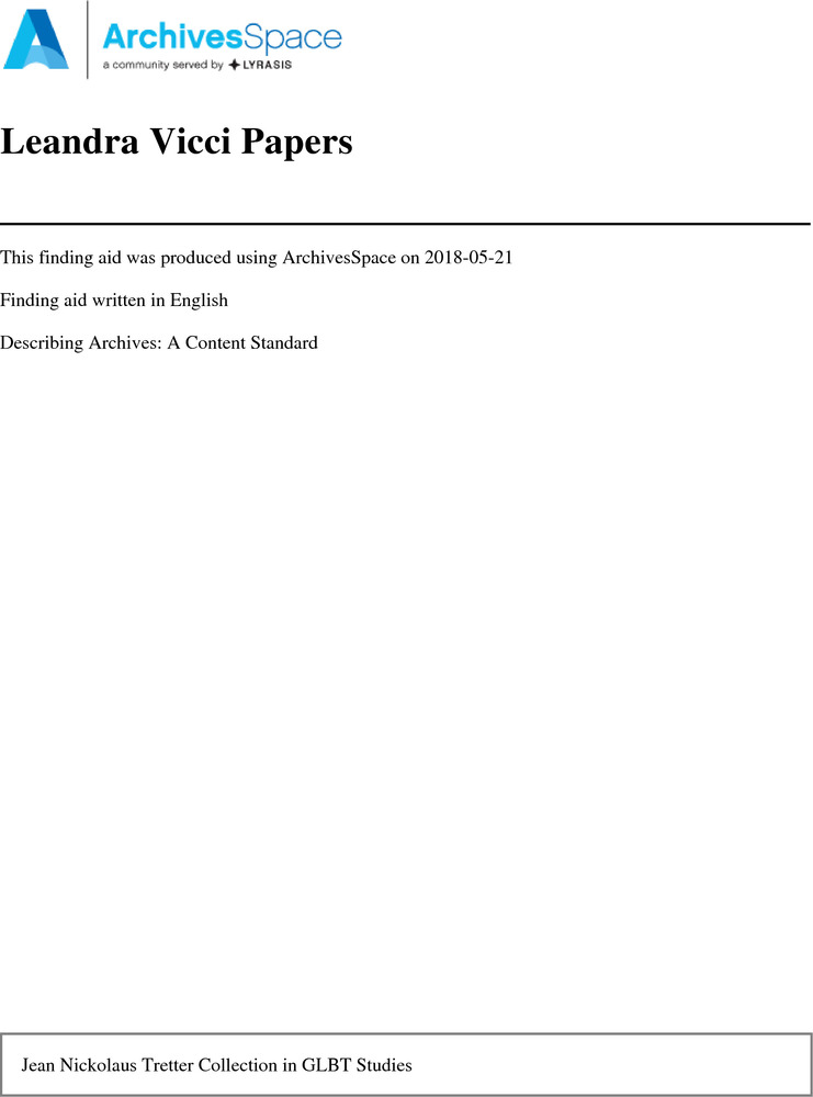 Download the full-sized PDF of Leandra Vicci Papers, 1974–2014