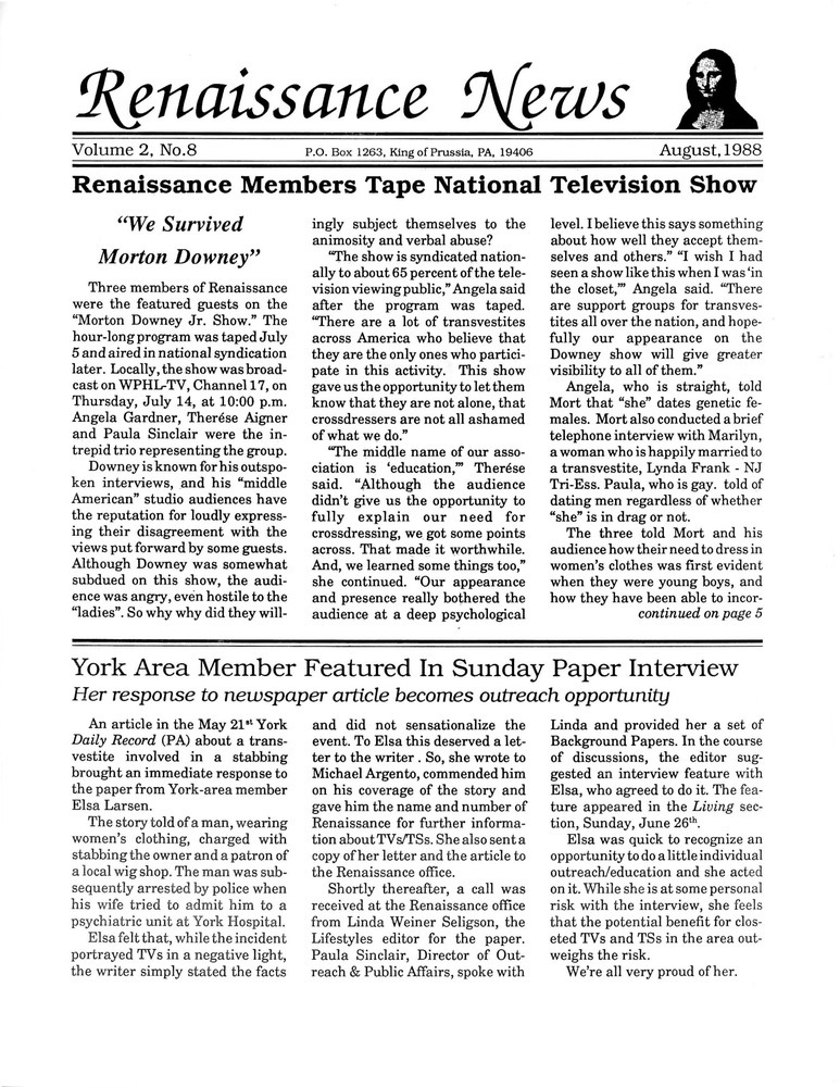 Download the full-sized PDF of Renaissance News, Vol. 2 No. 8 (August 1988)