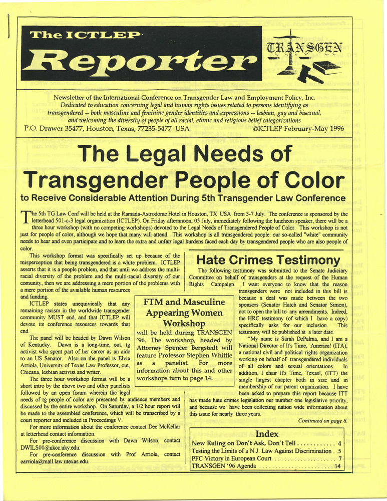 Download the full-sized PDF of The ICTLEP Reporter (February-May 1996)
