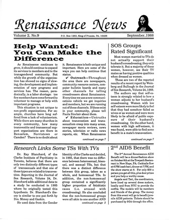 Download the full-sized PDF of Renaissance News, Vol. 2 No. 9 (September 1988)