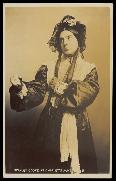 Download the full-sized image of Stanley Cooke in drag as Charley's aunt. Photographic postcard, 19-- (?).