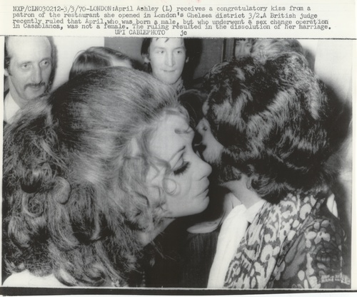 Download the full-sized image of April Ashley Receives a Congratulatory Kiss (March 3, 1970)