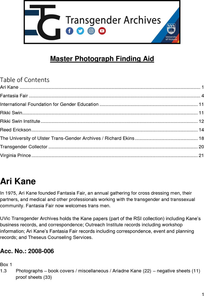 Download the full-sized PDF of Master Photograph Finding Aid
