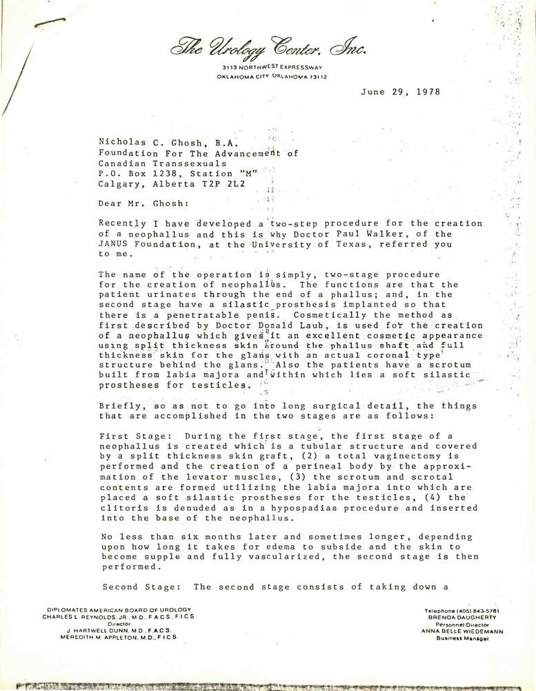 Download the full-sized PDF of Correspondence from Charles Reynolds to Nicholas Ghosh (June 29, 1978)