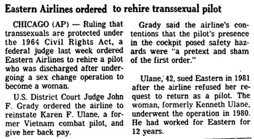 Download the full-sized image of Eastern Airlines Ordered to Rehire Transsexual Pilot