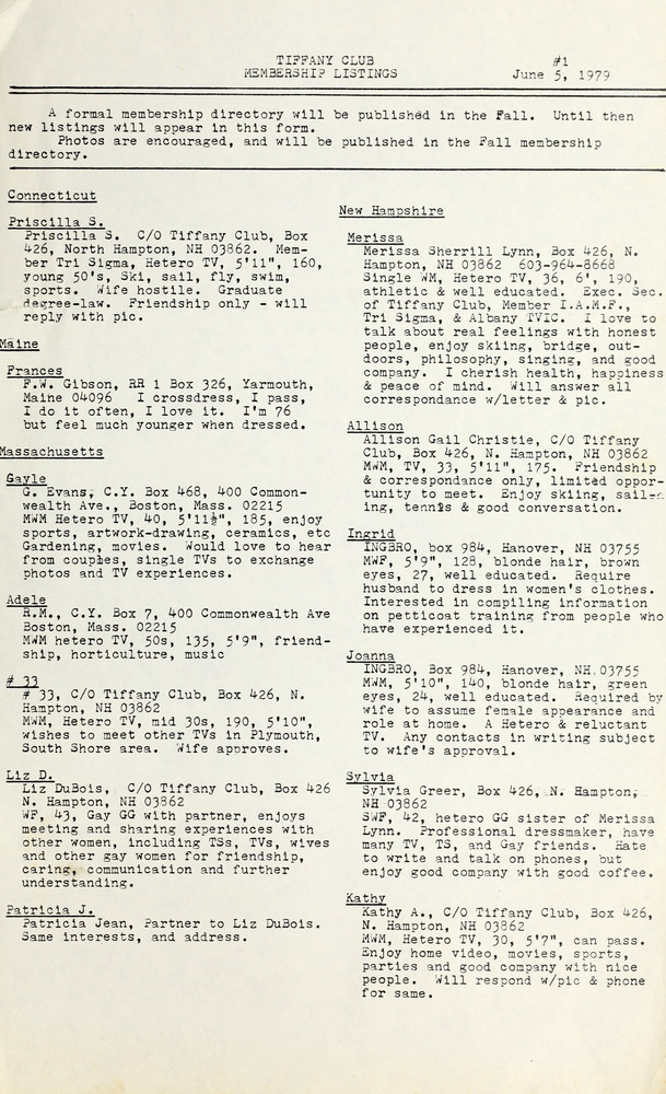 Download the full-sized image of Tiffany Club Membership Listings #1 (June 5, 1979)