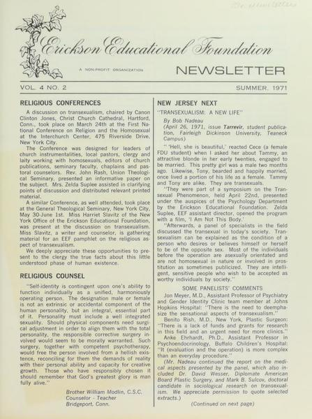 Download the full-sized image of Erickson Educational Foundation Newsletter, Vol. 4 No. 2 (Summer, 1971)