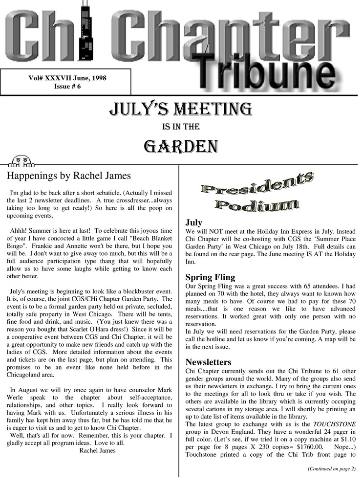 Download the full-sized PDF of Chi Chapter Tribune Vol. 37 Iss. 06 (June, 1998)